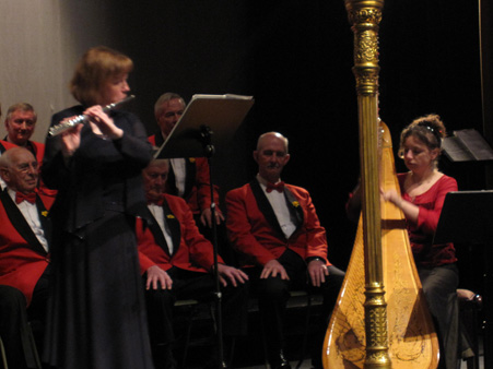 the Oxford Welsh Male Voice choir on st davids day 2009 with anna lockett harp and tina gandy flute